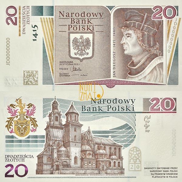 20 zł 2015 r. - Długosz - 600. rocznica urodzin Jana Długosza, banknot kolekcjonerski