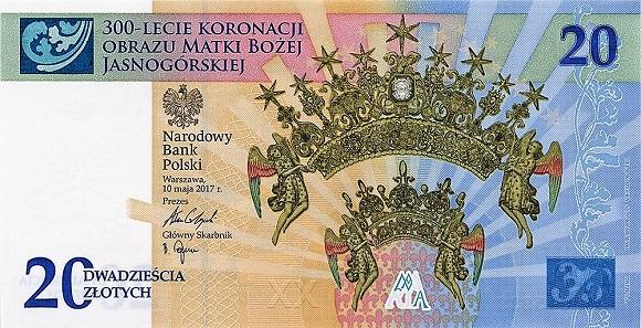 20 zł 2017 r. - 300-lecie koronacji obrazu Matki Bożej Jasnogórskiej - banknot kolekcjonerski