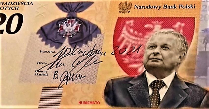 20 złotych 2021 r. - Lech Kaczyński. Warto być Polakiem - banknot kolekcjonerski