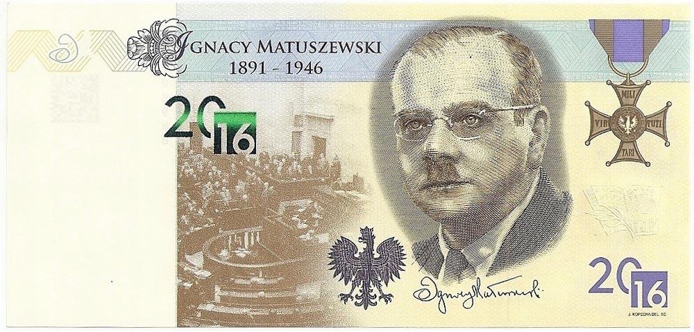 Banknot testowy PWPW Ignacy MATUSZEWSKI 2016