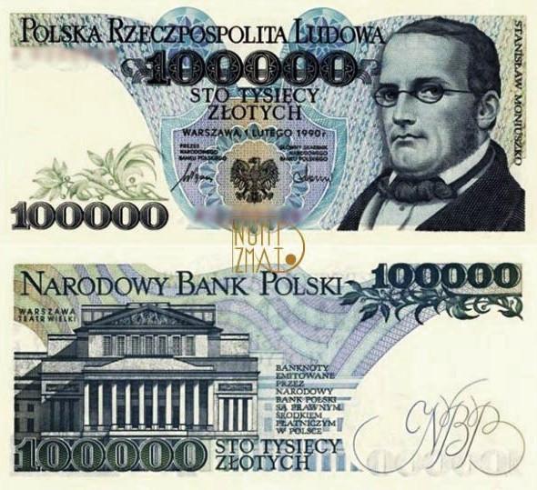 Banknot 100000 zł MONIUSZKO sto tysięcy złotych UNC