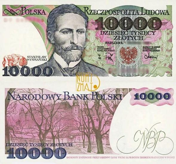 Banknot 10000 zł 1988 WYSPIAŃSKI dziesięć tysięcy złotych UNC