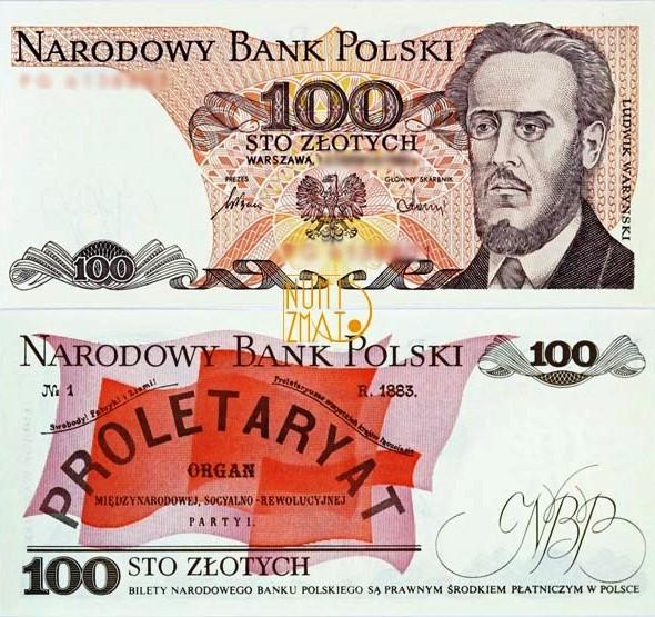 Banknot 100 zł 1986 WARYŃSKI sto złotych UNC