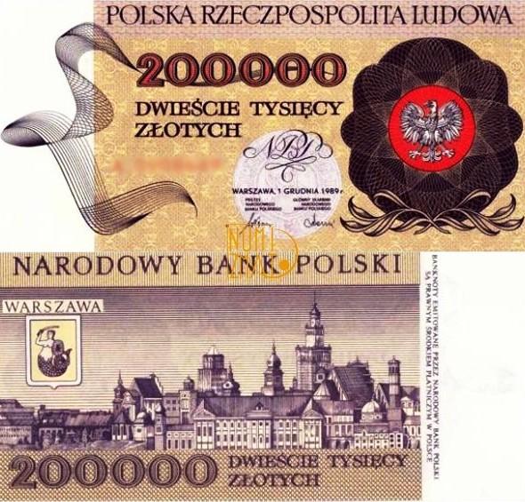 Banknot 200000 zł 1989 PANORAMA WARSZAWY dwieście tysięcy złotych UNC