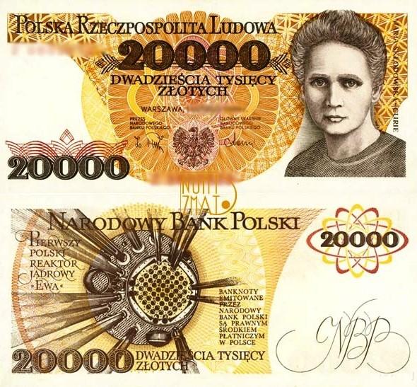 Banknot 20000 zł 1989 SKŁODOWSKA dwadzieścia tysięcy złotych UNC