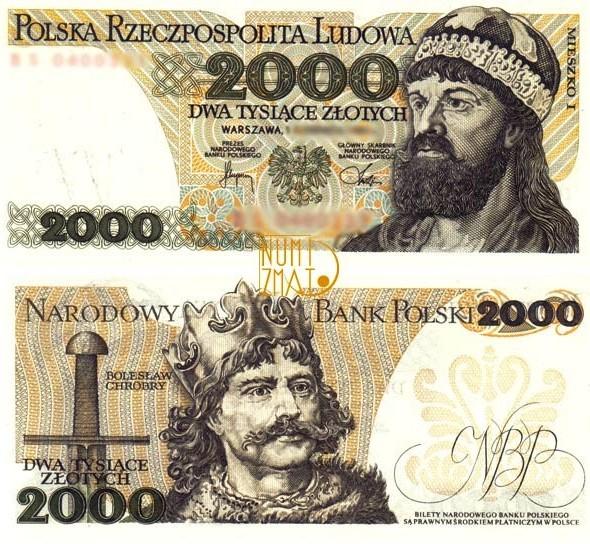 Banknot 2000 zł 1982 MIESZKO I dwa tysiące złotych UNC