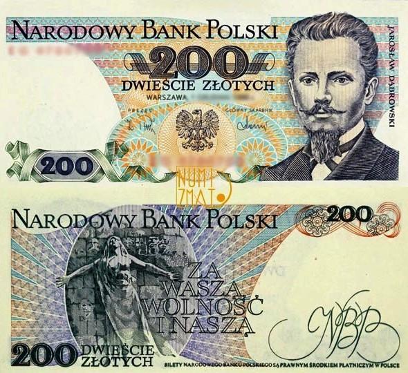 Banknot 200 zł 1988 DĄBROWSKI dwieście złotych UNC