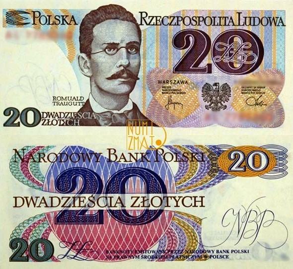 Banknot 20 zł 1982 TRAUGUTT dwadzieścia złotych UNC