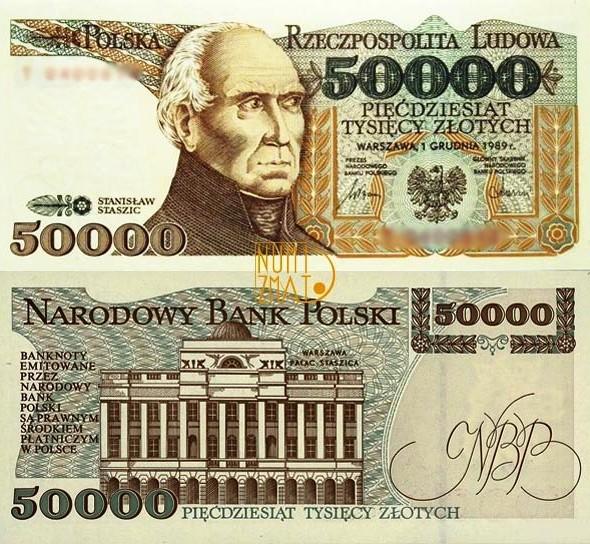 Banknot 50000 zł STASZIC pięćdziesiąt tysięcy złotych UNC