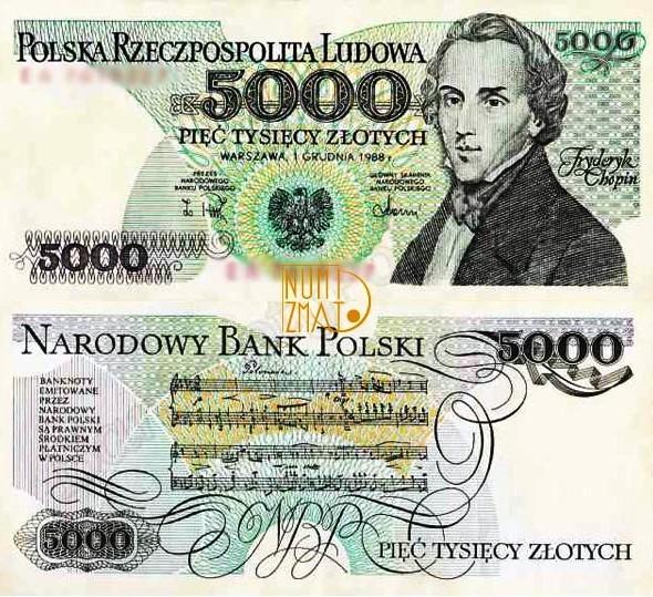 Banknot 5000 zł 1988 CHOPIN pięć tysięcy złotych UNC