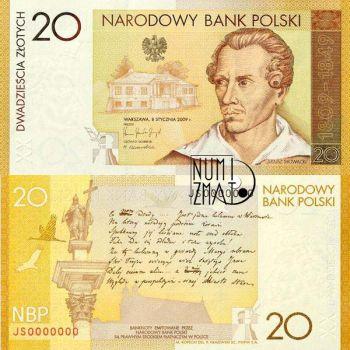 20 zł 2009 - 200. rocznica urodzin Juliusza Słowackiego - banknot kolekcjonerski
