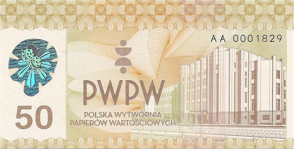 Banknot testowy PWPW S.A. 50 PIĘĆDZIESIĄTKA, 2011 r. + kwartalnik Człowiek i dokumenty