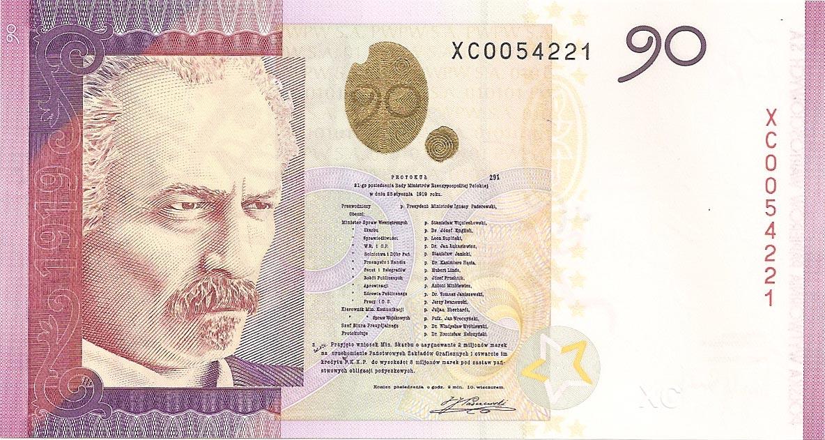 Banknot testowy PWPW S.A. PADEREWSKI, 2009 r. + kwartalnik Człowiek i dokumenty