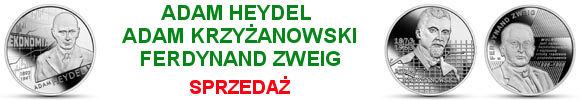 10 złotych 2021 Ferdynand Zweig, Adam Krzyżanowski i Adam Heydel Ekonomiści
