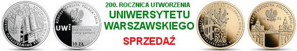 10 złotych, 200 zł 2016 r. 200. rocznica utworzenia Uniwersytetu Warszawskiego (temat indywidualny)