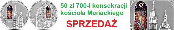 50 złotych 2020 700-lecie konsekracji kościoła Mariackiego w Krakowie (temat indywidualny)