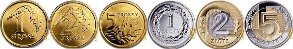 Polskie monety obiegowe po denominacji 1, 2, 5, 10, 20, 50 groszy, 1, 2, 5 złotych