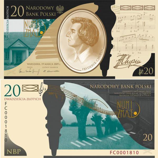 20 zł 2010 r. banknot - Fryderyk Chopin. 200. rocznica urodzin Fryderyka Chopina